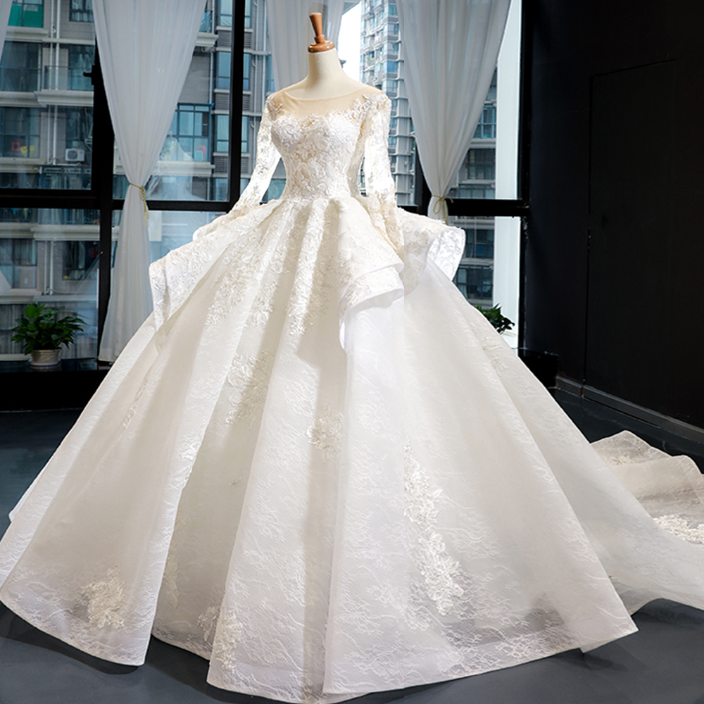 Ball-Gown Wedding-Dresses Beading Chapel-Train Long-Sleeve Alibaba China Appliques Gorgeous