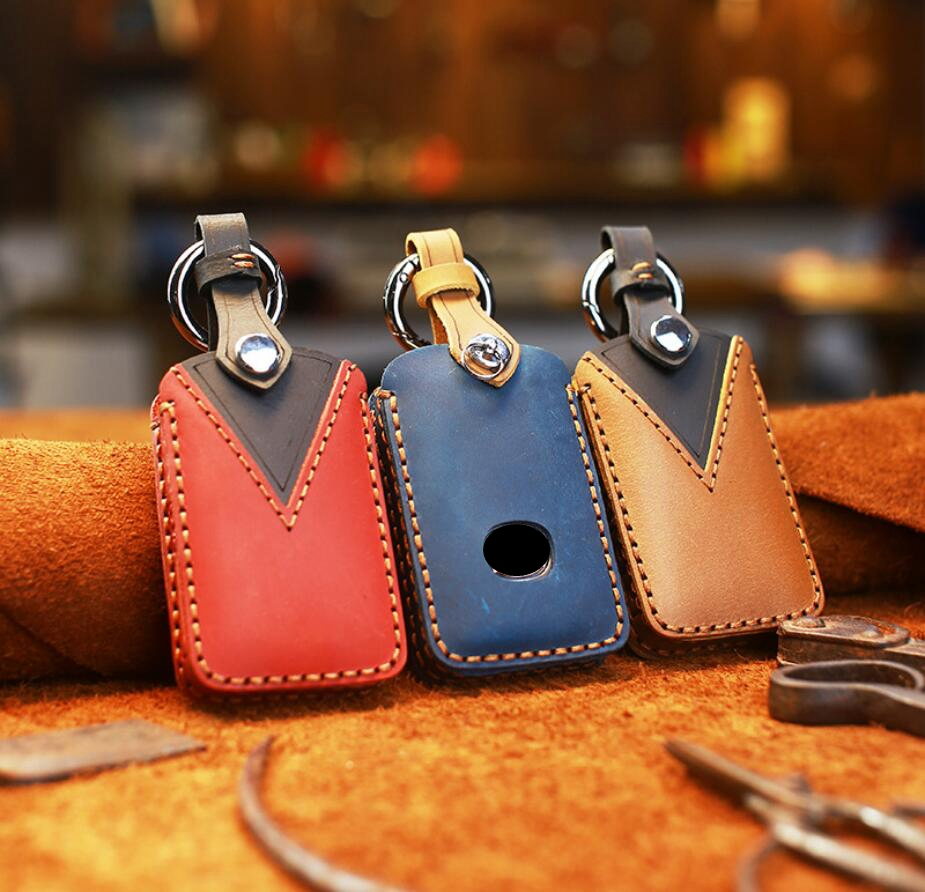 Car Handmade Genuine Leather Key Case Holder Wallet For Mazda 3 Alexa CX-3 CX4 CX5 CX8 2019 2020 3 Button Car Styling image