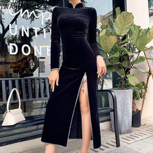 WannaThis Black Ankle-Length Bodycon Dresses Sexy Split Hem Long Sleeve Stand Collar Slim Elastic China Style Vintage Cheongsam