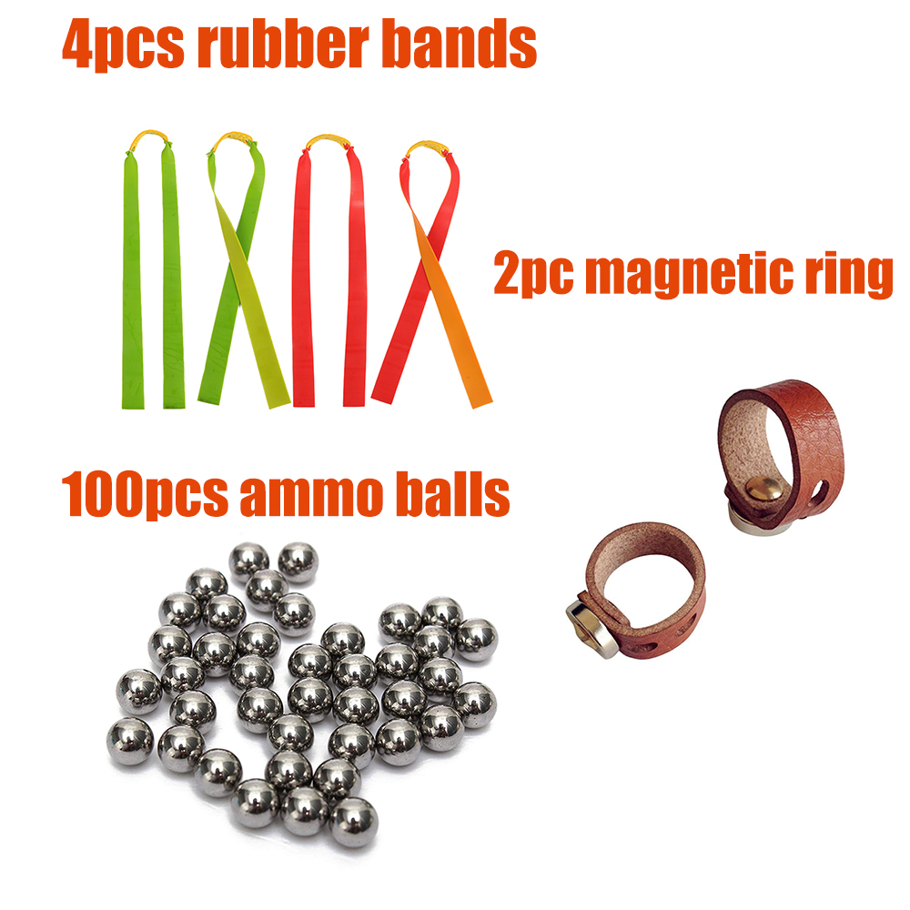 100pcs Slingshot Ammo Balls 2pcs Magnetic Rings 4pcs Rubber Bands For Slingshots Shooting Hunting DIY Kits