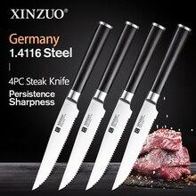 """XINZUO 1/4 قطعة طاقم سكين لتقطيع شرائح اللحم ألمانيا 1.4116 الفولاذ المقاوم للصدأ 5 """"بوصة سكاكين المطبخ سكين العالمي مع مقبض Pakkawood"""