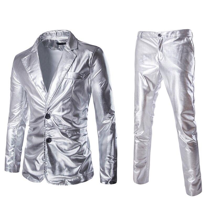 Fashion Reflective Fabric Two Piece Suit Male Autumn Plus Size Shiny Silver Casual Suit Set Men Slim Fit Suit Blazer 2 Piece Set