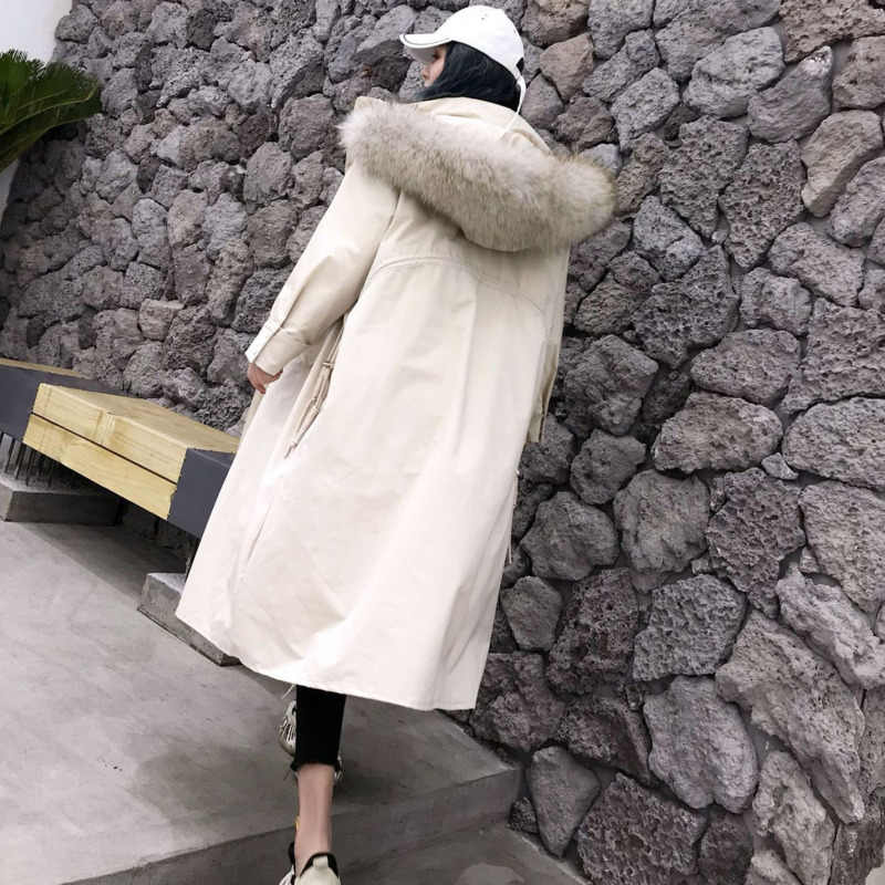 Oversize Jaqueta Com Gola de Pele de Grande Meninas 2019 Casaco de Inverno de Espessura Mulheres Casaco Longo Com Capuz Para Baixo Mulher Casaco Solto vestir
