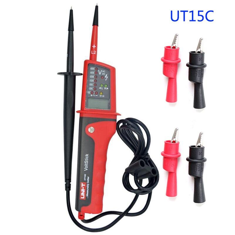 UNIT T Digital Voltage Tester Meter Multifunction Voltmeter Testers Tool Continuity Test AC/DC Voltage Meters LCD Display UT15C Multimeters     - title=