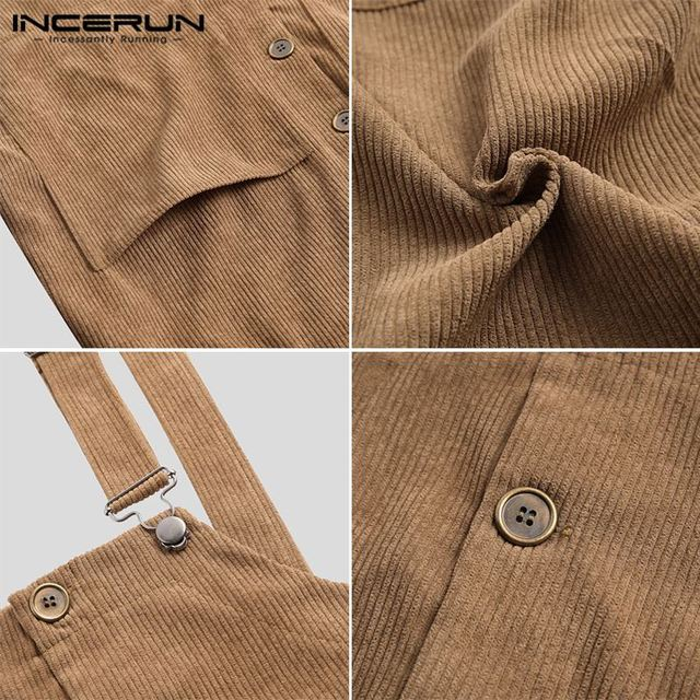 INCERUN Men Corduroy Jumpsuits Solid Bib Pants Loose Streetwear 2020 Suspenders Button Pockets Casual Overalls Men Rompers S-5XL 6