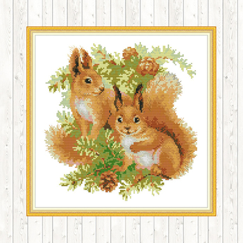 Two Squirrels Counted Cross Stitch Fabric Aida 14ct 11ct Printed on Canvas DMC Floss Embroidery Kit DIY Handmade Needlework Sets swing handmade dmc cotton thread printed canvas cross stitch embroidery kit 14ct 11ct counted and stamped diy needlework crafts