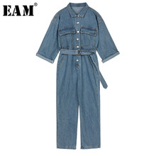 [EAM] Loose Fit Women Belt Personality Denim Jumpsuit New High Waist Pocket Stitch Pants Fashion Tide Spring Autumn 2019 1B005(China)