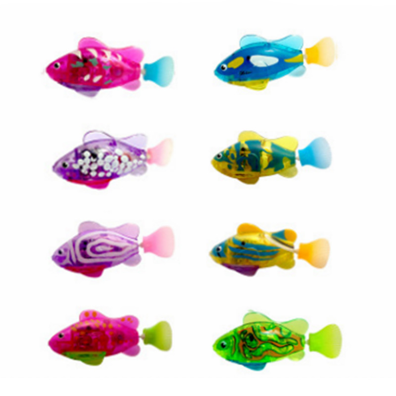 8 Pcs / Lot Flash Swimming Fish LED Electronic Fish Activated Toy Children Robotic Pet Can Swim Bath Toy Children Gifts