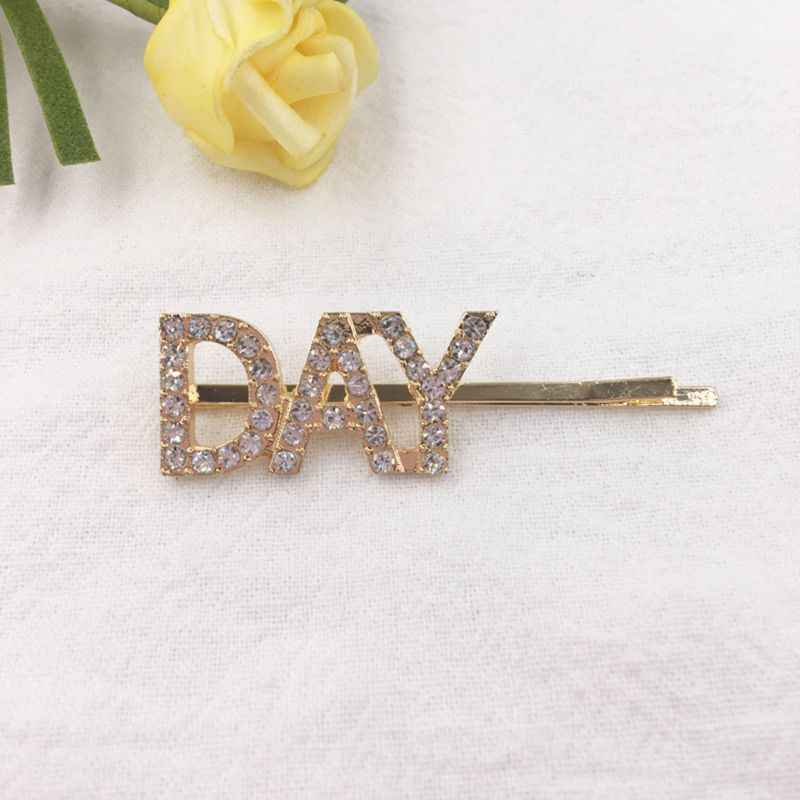 Womens Glitter Imitation Crystal Hair Clip Heaven Moon Day Letters Styling Alloy Hairpins Jewelry Rhinstone One Word Barrettes
