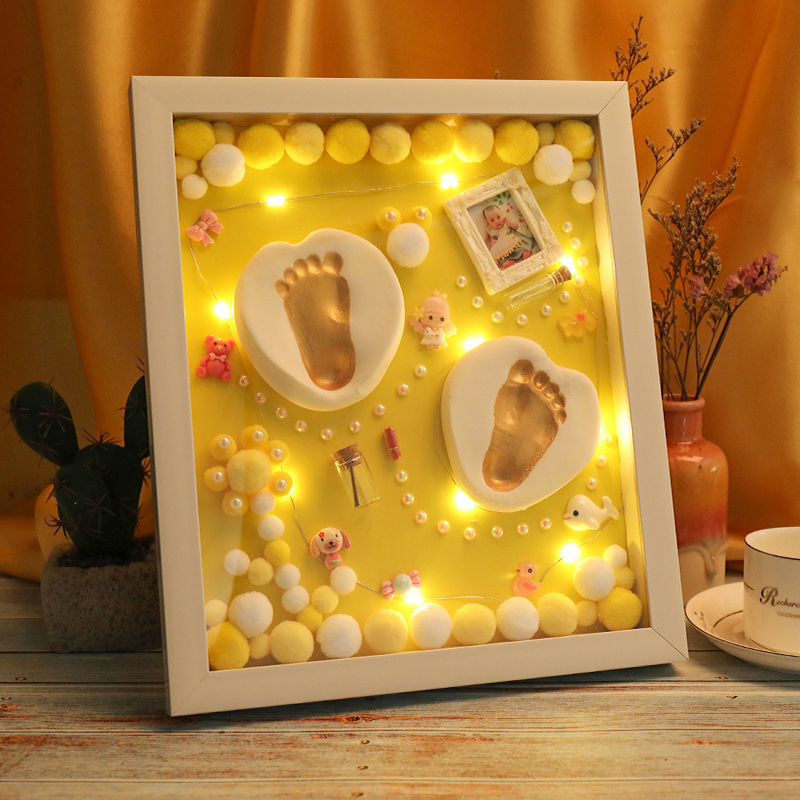 3D-Baby-Souvenir-Set-Handprint-Footprint-Soft-Clay-Photo-Frame-Newborn-Exquisite-Decorations-Ornament-Print-Keepsake