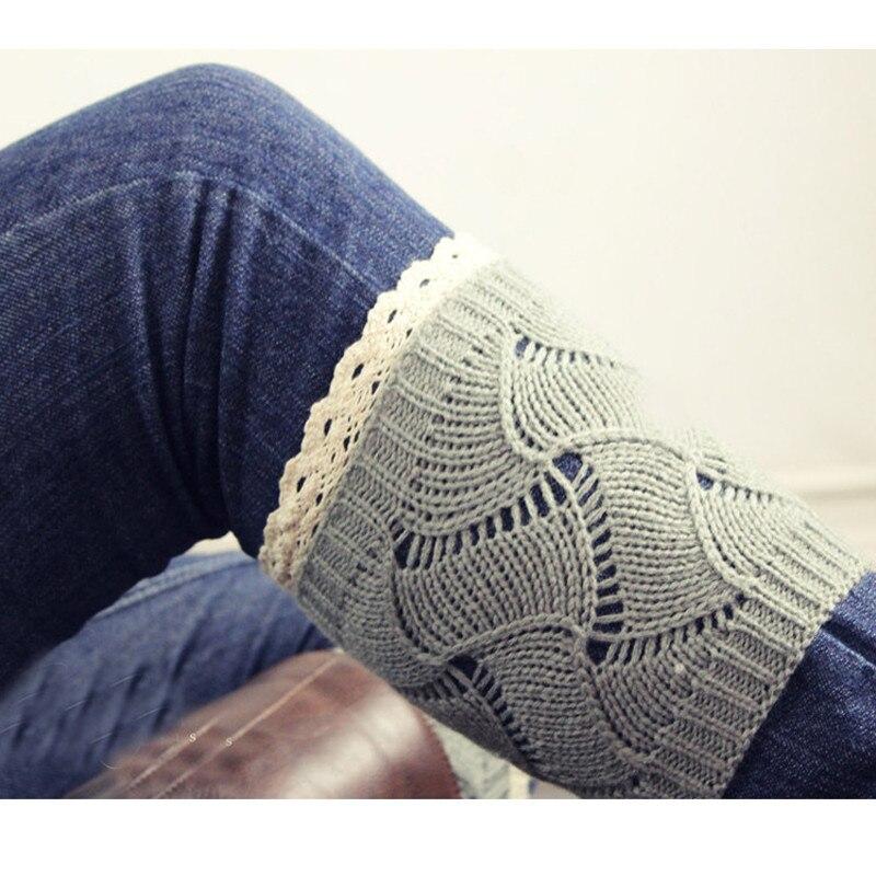 1 Pair Short Knitting Cotton Wool Striped Knee Sleeve Scoks Women Lace Boot Cuffs Warmer Cotton Blend Leg Long Tube Scoks