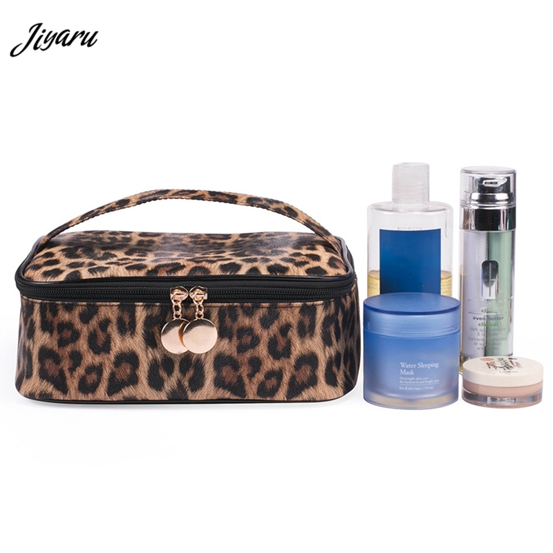Jiyaru 2019 Makeup Case Women Cosmetic Bags Toiletry Bag Large Capacity Cosmetic Case Zipper Travel Pouch Leopard Makeup Bags