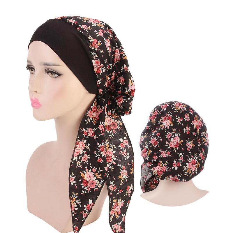 New Fashion Printed Flowers Women Inner Hijabs Caps Muslim Head Scarf Turban Bonnet Ready To Wear Ladies Wrap Under Hijab Cap