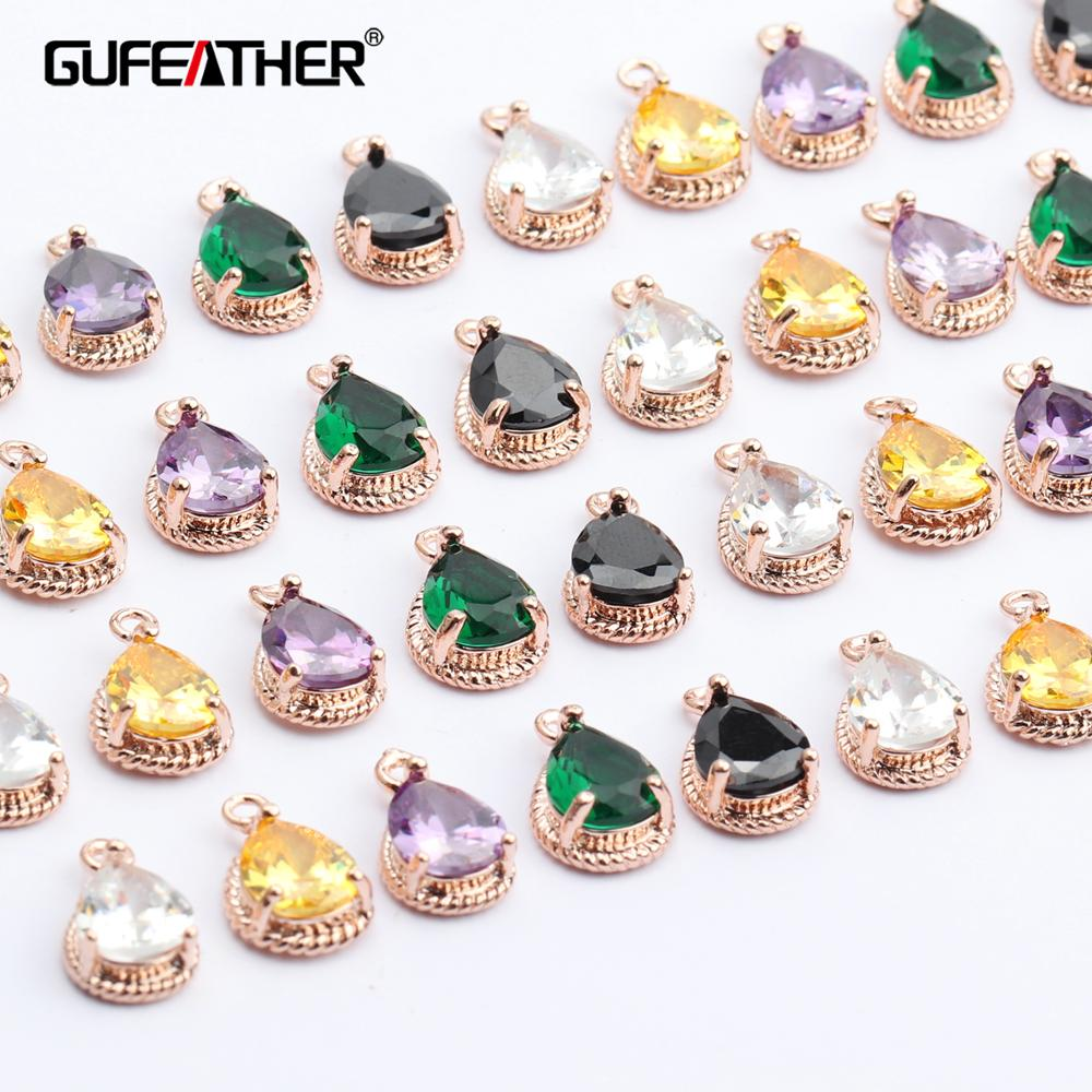 GUFEATHER M451,jewelry Accessories,diy Zircon Pendant,18k Gold Plated,hand Made,drop Shape,diy Earring,jewelry Making,6pcs/lot