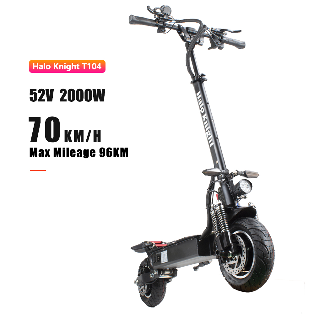 EU Stock ELectric Scooter 52V 2000W 70km/h With Hydraulic Brake Double Drive Powerful Motorcycle Turn Signals Halo Knight T104