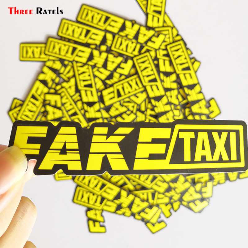 Three Ratels 50pcs  Yellow Fake Taxi Logo Pvc Waterproof Window Laptop Trunk Auto Motorcycle Car Sticker And Decals