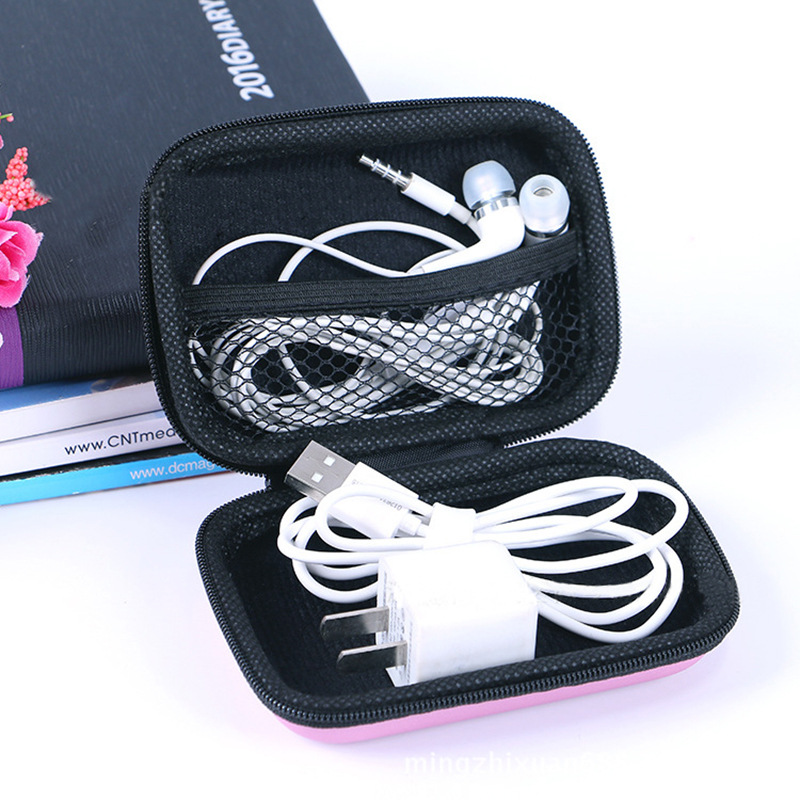 Mini Zipper Hard Headphone Case Portable Earbuds Pouch Box Earphone Storage Bag Protective USB Cable Storage Desk Organisers