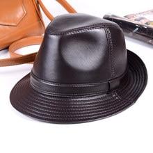 New Womens Mens 100% Real Leather Sheep Skin Top Hat gentleman cap Fedora Hats/Caps