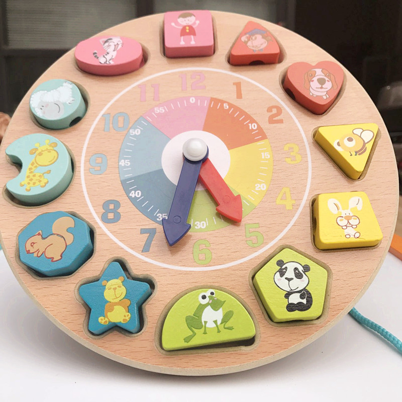 Wooden Baby Intellectual Early Education Geometry Alarm Clock Jigsaw Puzzle Building Blocks Educational 3-Year-Old Infant Jigsaw