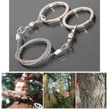 Alambre de sierra de bolsillo para acampar al aire libre, herramienta de supervivencia de emergencia para viajes, Kits de cables de acero inoxidable con manija del dedo para cortar