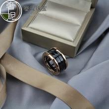 S925 prata esterlina preto branco cerâmica clássico anéis de casamento banda ouro três círculos anéis para casais moda das mulheres jóias