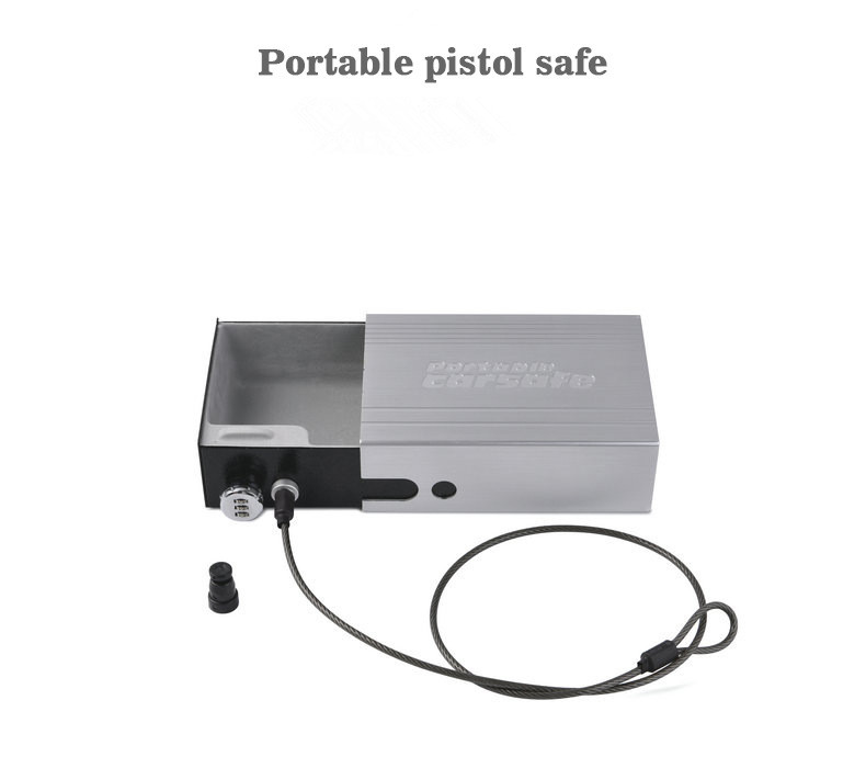 Portable Pistol Car Safe Gun Box Ammo Metal Case Safes Code Box Can Safebox Keybox Strongbox Boxes Safety Security Key Money