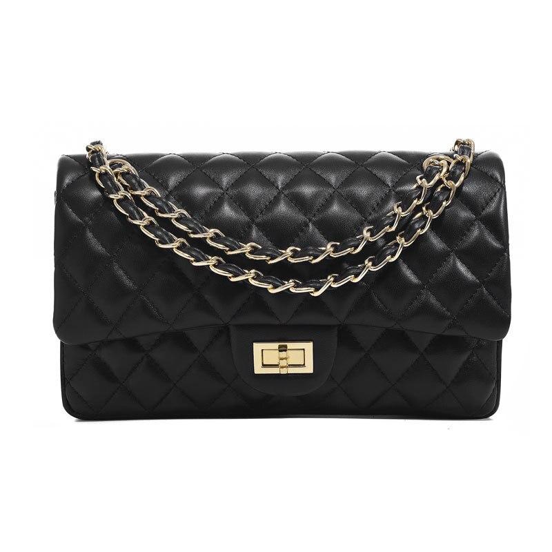 Real Leather Lambskin Soft Women Shoulder Bag Diamond Lattice Classical Flap Messenger Bag Brand Designer Elegant Purse For Woma
