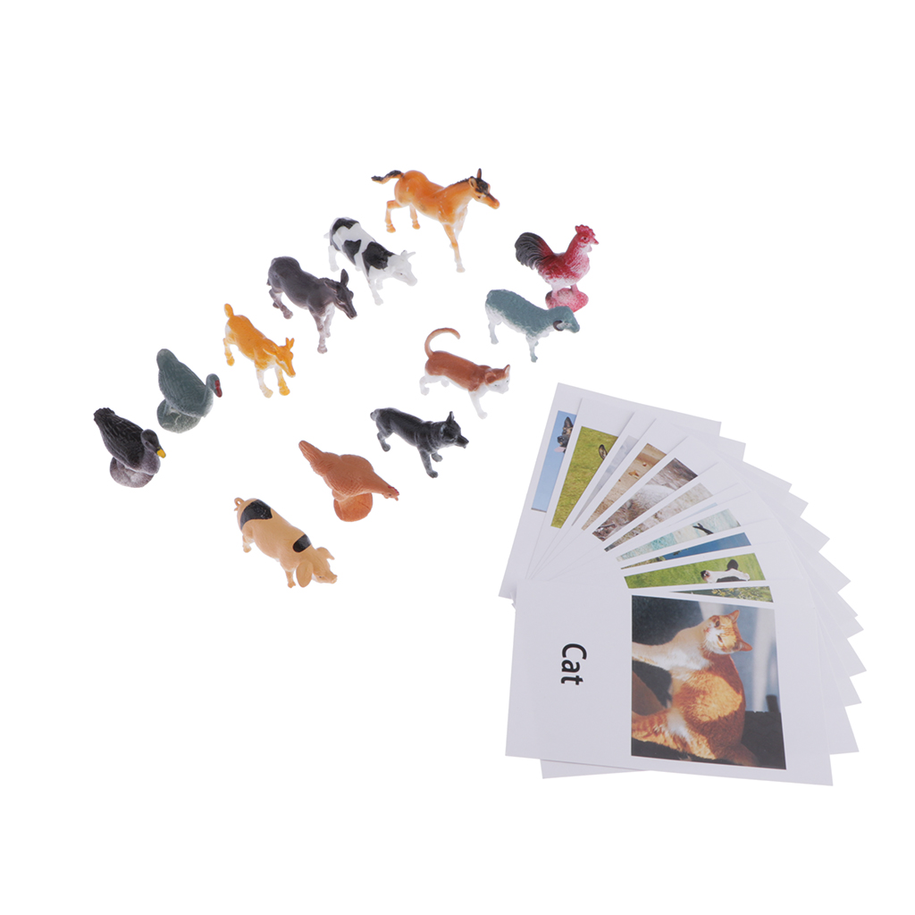 24pcs Animal Match Cards - Farm Animals Figurines And Cards, Montessori Preschool Infant Toddlers Toys