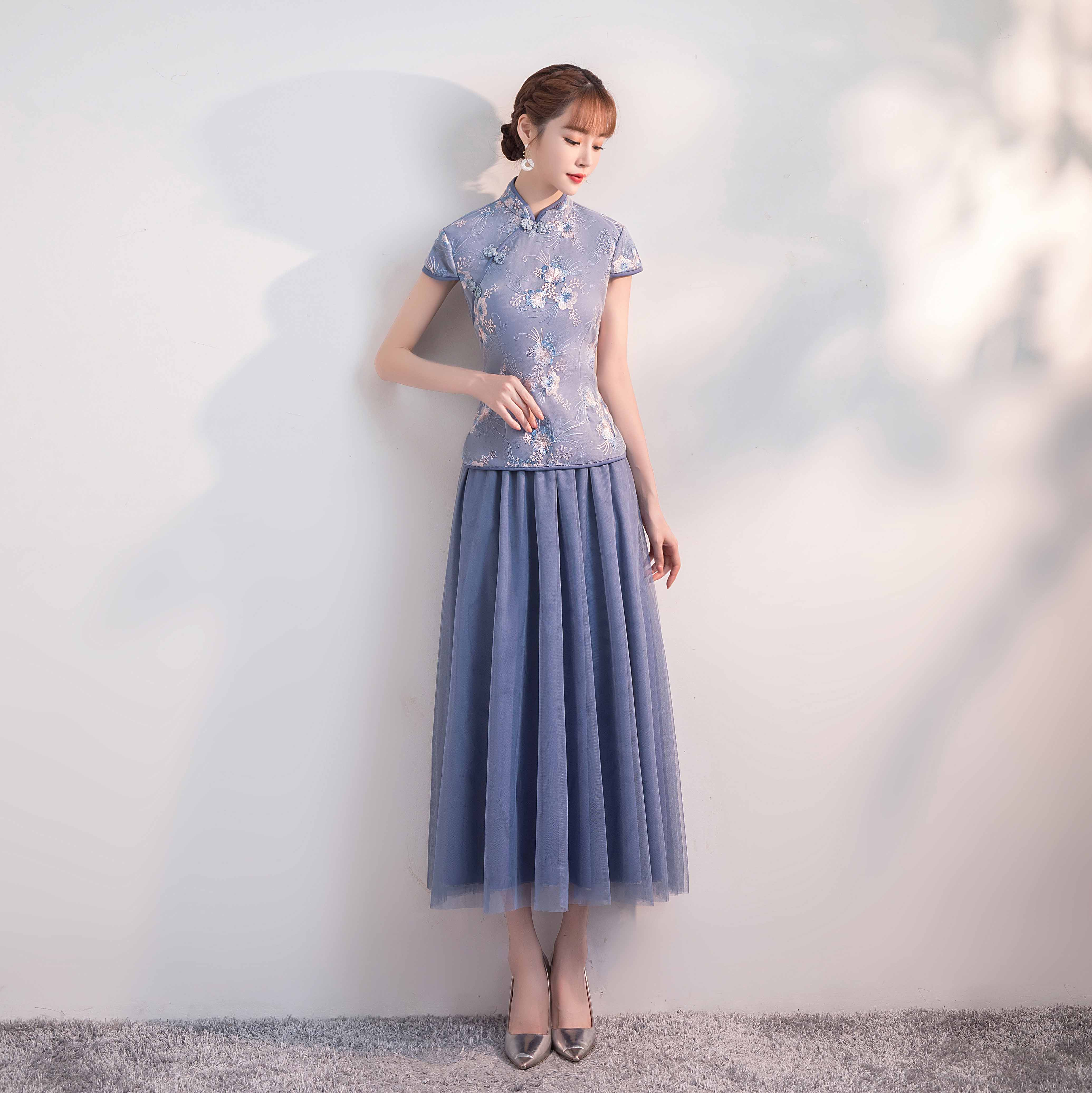 Elegant Wedding Party Dress For Dinner Blue Plus Size Bridesmaid Dress Sister Tulle Tea-Length Vintage Embroidery Prom Cheongsam