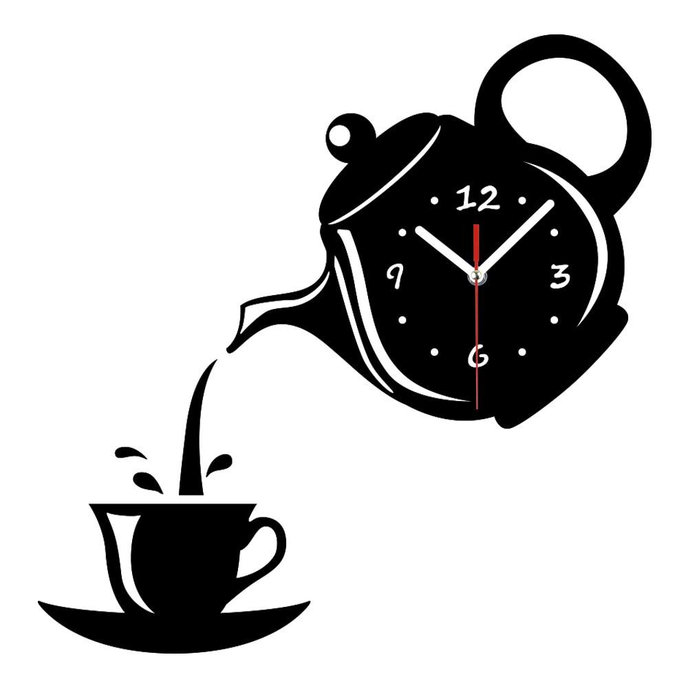3D DIY Mirror Wall Clock Quiet Acrylic Clock Modern Coffee Teapot Shape For Office Kitchen Home Decor Wall Sticker Numeral Clock