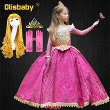 Fantasia menina rendas floral dormindo beleza vestido de princesa meninas carnaval crianças elegante rapunzel rainha aurora festa bola vestido