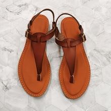 Female Sandals Shoes Women Summer Roman-Buckle Comfortable Fashion Flat-Heel-Clip Toe-Feet