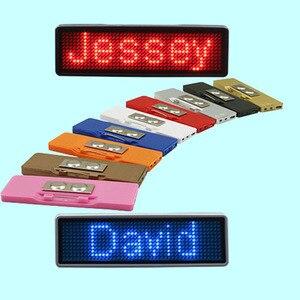 Image 2 - Bluetooth programmierbare LED name abzeichen 7 farben LED und 9 farben fall mit magnet und pin für event cafe bar restaurant expo zeigen