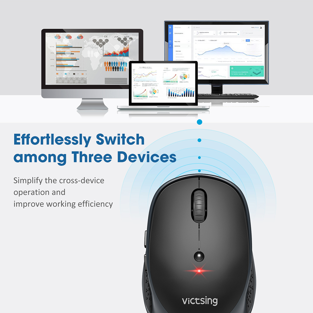 Image 4 - VicTsing PC254 Bluetooth Mouse 3 Modes Wireless Mouse Silent Computer Mouse 2400 DPI Portable USB Optical Mice For PC NotebookMice   - AliExpress