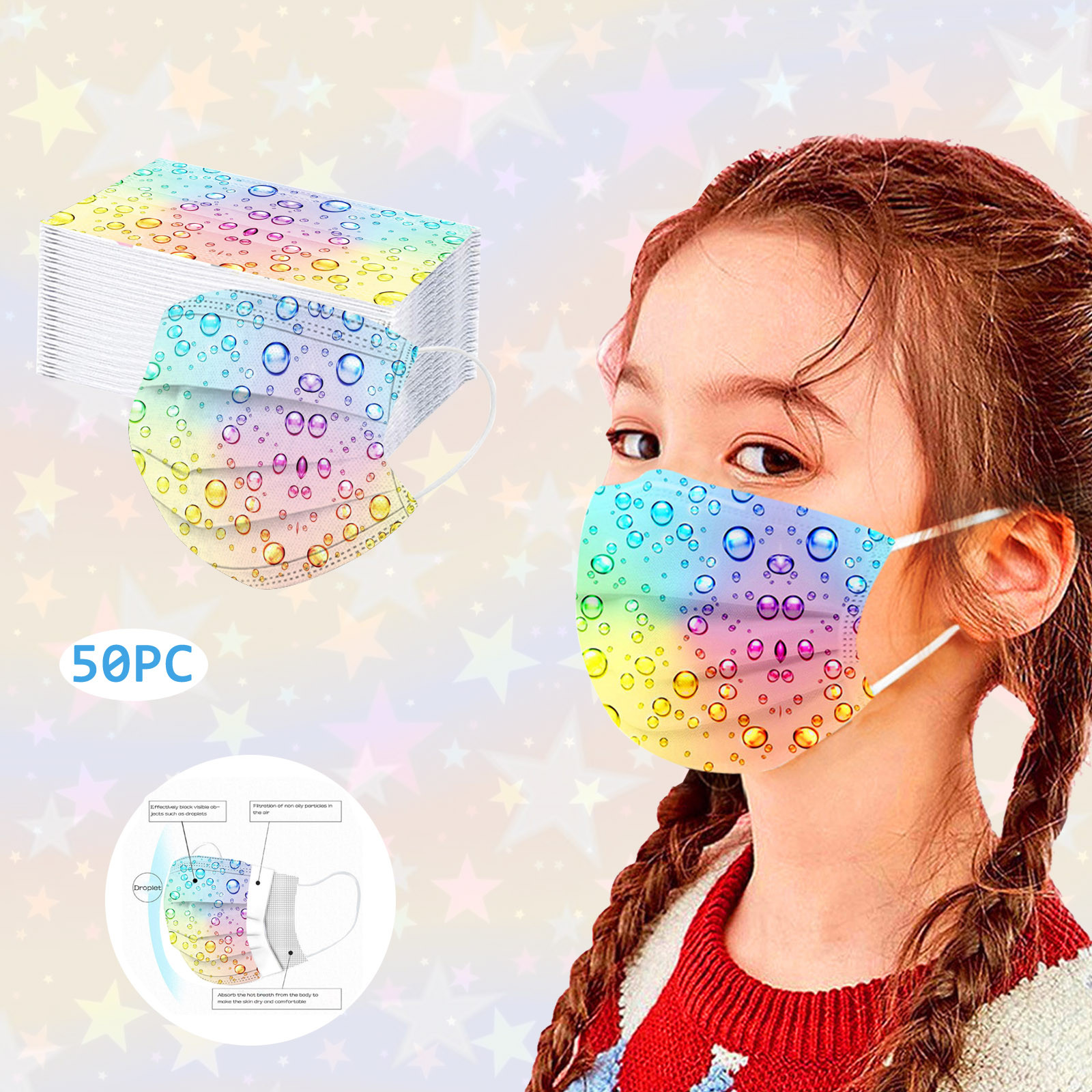 10/50 шт. детская маска одноразовая пылесборная уход за кожей лица маска для полости рта в форме капли воды печатных дети ребенок 3Ply защитными ...