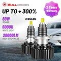 Bullvision 9012 HIR2 светодиодный головной светильник s 20000LM 360 градусов со светодиодными кристаллами для автомобиля Светильник лампы H1 H4 H7 H11 9005 9006 HB3 ...