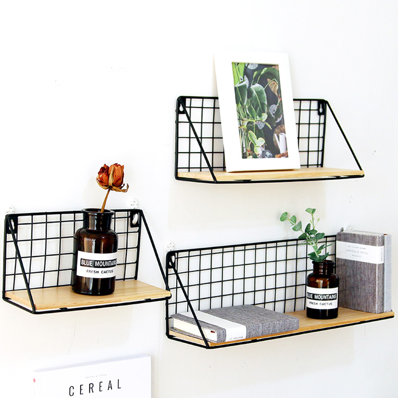 Home Office Wall Shelf Rack Iron Wooden Shelf for Kitchen Bedroom Office Decorative Wall Shelves Organizer DIY Desk Storage Rack 3