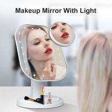 Косметическое зеркало для макияжа с светодиодный заполняющий Светильник Настольный Органайзер Красота зеркала сенсорный Управление Мног...