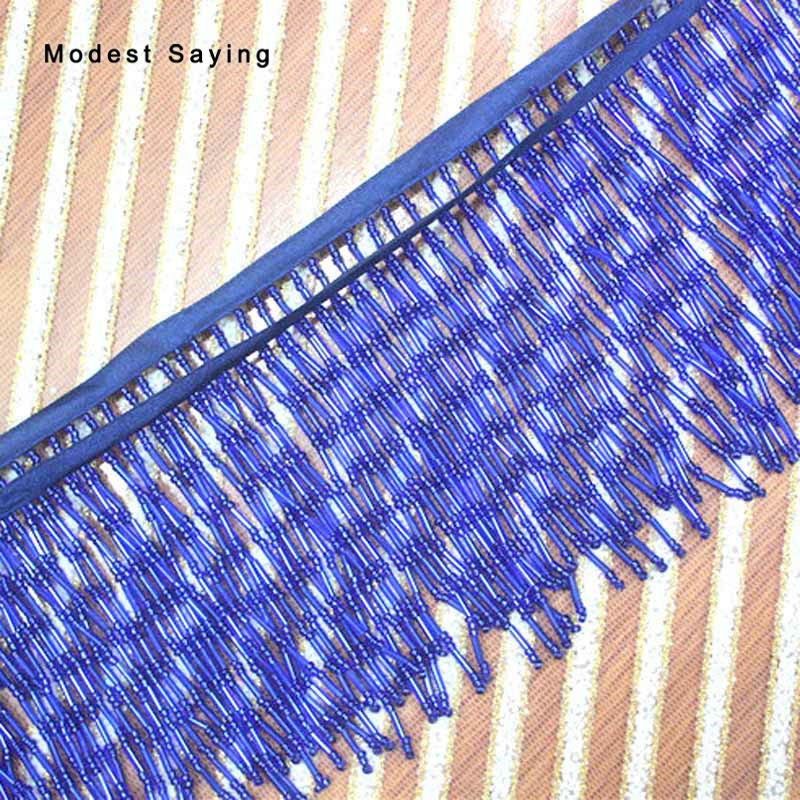 5 Yards Blue 9cm Beaded Fringe Trim Ribbon Sewing Tassel Fringe Trimming Latin Dress Evening Party Gowns Garment Accessories