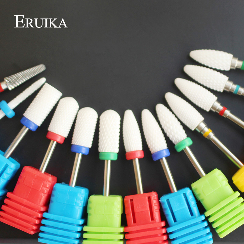 ERUIKA 13 Type Ceramic Nail Drill Bit Manicure Machine Accessories Rotary Electric Nail Files Manicure Cutter Nail Art Tools