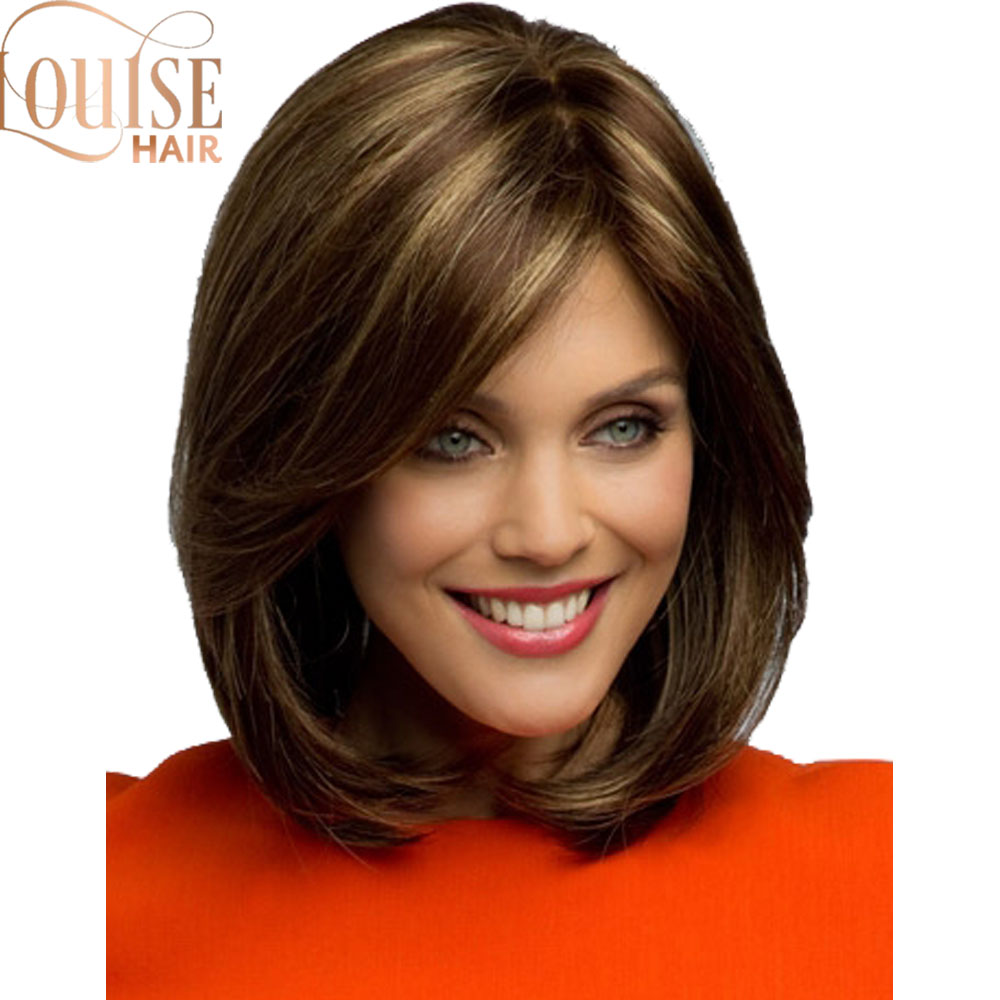 Louise  Brown And Blonde Short Wigs Bob Style Straight Synthetic Black Women's Wig With Bangs 12 Inches Soft Hair Blonde Wig