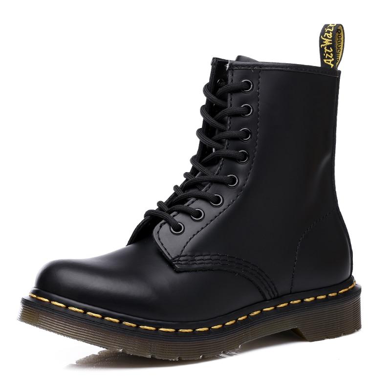 Coturno/женская кожаная обувь Martin; модная зимняя теплая обувь; ботильоны в байкерском стиле; пара ботинок унисекс; 47