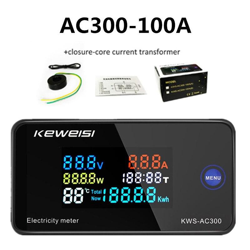 KWS-AC300 Цифровой вольтметр переменного тока, ваттметр Мощность ток энергии Амперметр Температура измеритель влажности Напряжение тестер 0-100A...
