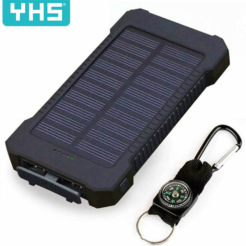 Top Solar Power Bank 30000mAh Solar Charger External battery Charger Waterproof Solar Powerbank for Smartphone with LED Light