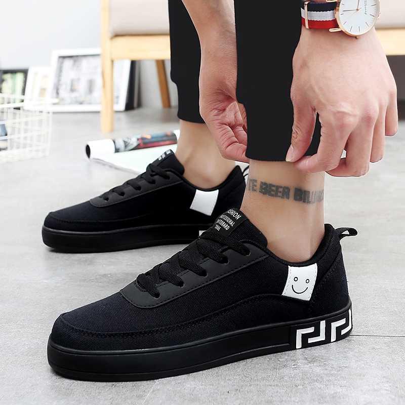 2019 Hot ผู้ชาย Vulcanized รองเท้าสีดำรองเท้าผ้าใบสีแดงชาย LACE-up รองเท้าสบายๆ Breathable เดินรองเท้า Zapatillas