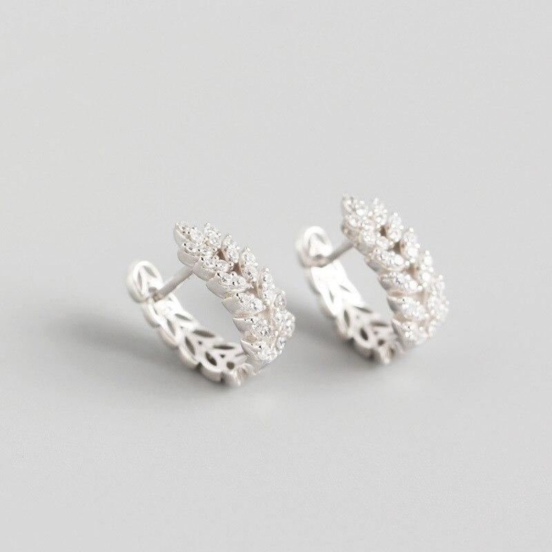 ANENJERY 925 en argent Sterling feuilles boucles d'oreilles pour les femmes français exquis élégant oreille bijoux S-E1377 3