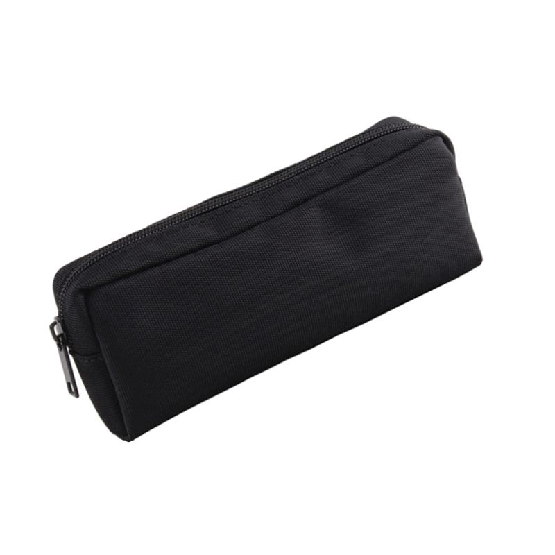 Concise Solid Color Black School Pencil Case For Girls Boys Canvas Pencil Case Cute Zipper Big Pencil Box Cosmetic Bag Supplies