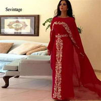 Sevintage Red Arabic Moroccan Kaftan Prom Dress with Cape Gold Lace Applique Chiffon Abaya Dubai Evening Gowns Vestidos De Gala