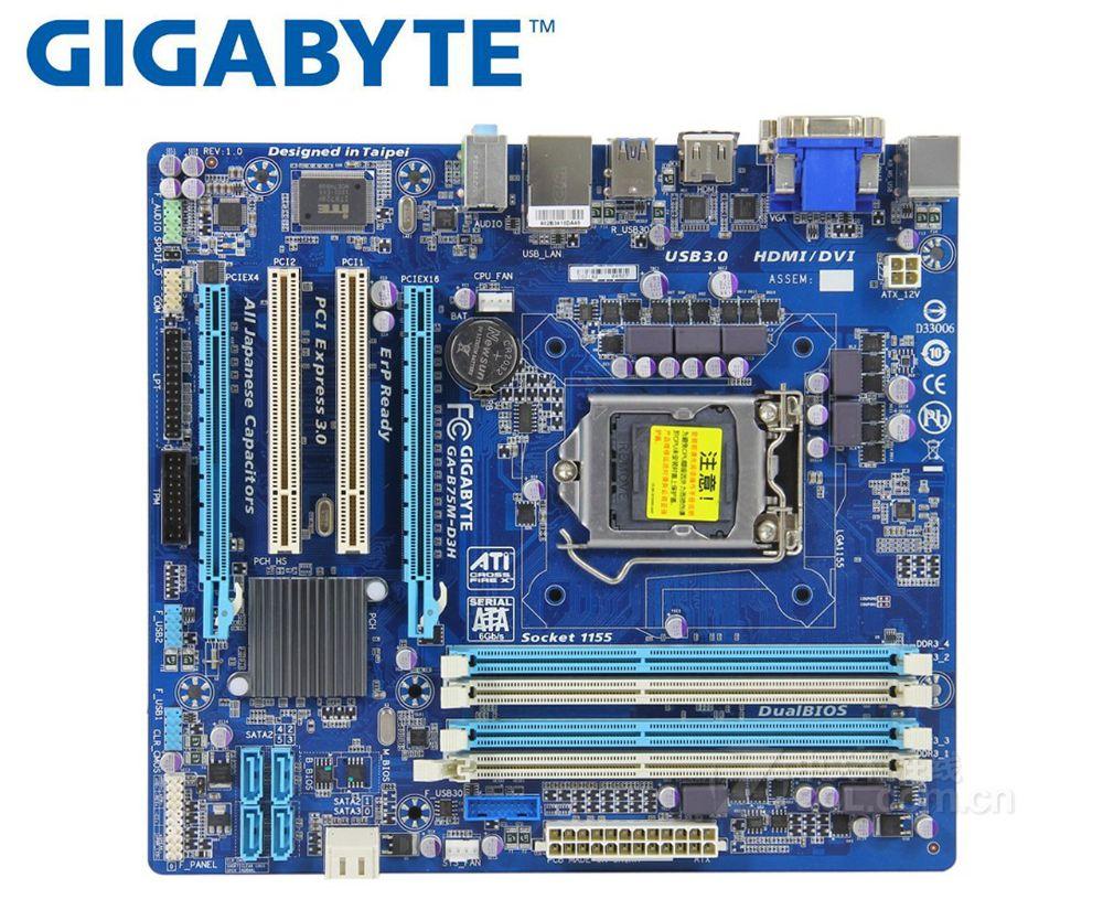 Gigabyte GA-B75M-D3H Original Motherboard For Intel DDR3 LGA 1155 B75M-D3H 32GB USB2.0 USB3.0 B75 Used Desktop Motherboard Board