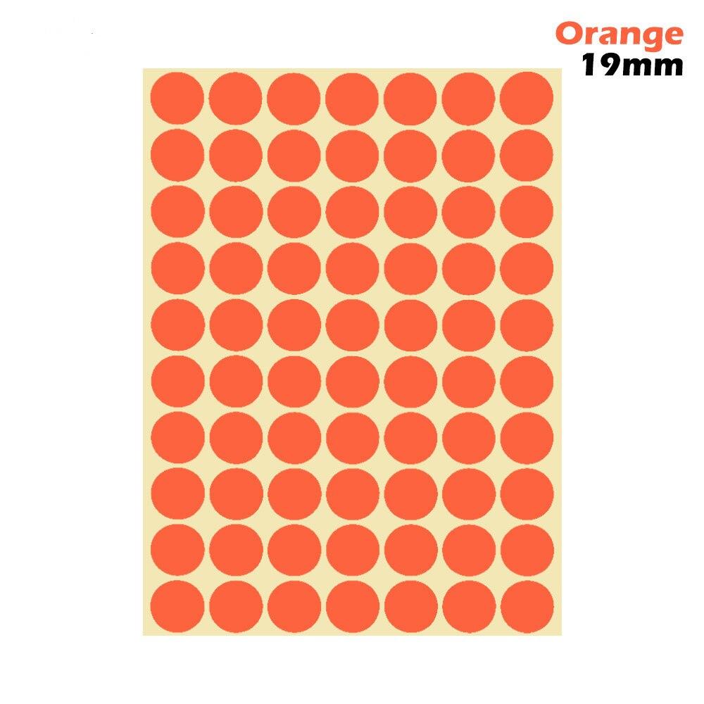 1 лист 10 мм/19 мм цветные наклейки в горошек круглые круги точки бумажные клеящиеся этикетки офисные школьные принадлежности - Цвет: orange 19mm